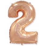 Шар (40''/102 см) Цифра, 2, Розовое Золото, 1 шт.